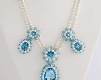 Something Blue Necklace Aquamarine Crystal Necklace Prom Necklace Seed Bead Necklace Blue Necklace Bridal Necklace Aquamarine Necklace