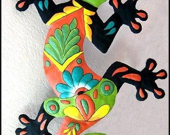 """Outdoor Metal Wall Art, Hand Painted Metal Wall Hanging, Gecko Metal Art, Garden Decor, Tropical Decor, Gecko, Garden Art, 34"""", M401-GR-34"""