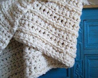 Thick crochet afghan etsy diy crochet pattern super chunky throw ivory cream off white wool blend dt1010fo