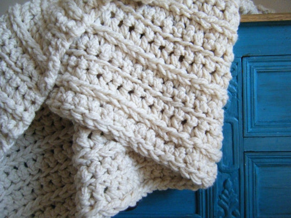 Diy Crochet Pattern Super Chunky Throw Ivory Cream Off White Wool