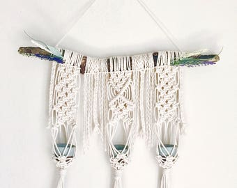 Macrame Succulent Plant Holder with Floral Detail
