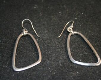 925 Silver Earrings, pierced, trapazoid