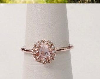 Round Rose Gold Morganite Ring Diamond Halo 14k Pink Gold Simple Band Engagement Wedding Promise