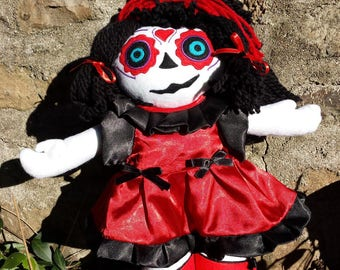 """Little Santa Muerte"" red Gothic zombie doll"