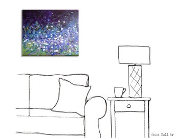 Daisies abstract painting on canvas, daisies art, purple blue green abstract art, original art, unframed painting, wall art, free shipping