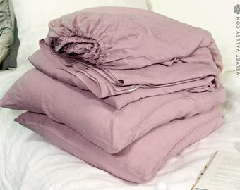Dusty rose set of linen sheets -pink 4 pieces linen bed sheet set- linen fitted sheet, flat sheet &2 pillow cases