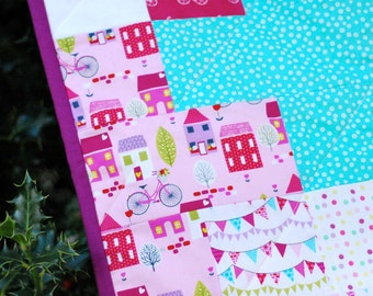 Plus Baby Quilt - Houses and Dots, Modern, Handmade, Cute, Toddler, Pink, Teal, Adorable, Polka Dots, Bunting 42x33