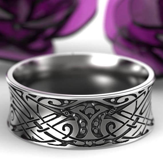 Engraved Norse Wedding Ring With Unique Design in Sterling Silver, Made in Your Size CR-5090