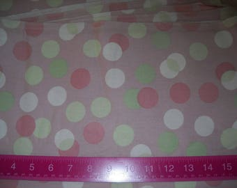 Destash- 1 Full Yard Of Light Pink And Mint Green Dot Home Decor Weight Fabric