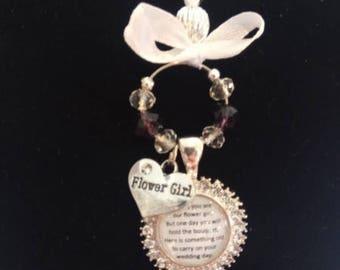 Flower Girl or Bridesmaid Charm for Weddings - Round Diamante