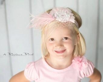 Pink Flower Headband, Swarovski headband, feather Headband, girls Headband, toddler headband, photo prop, hair accessories, children's band