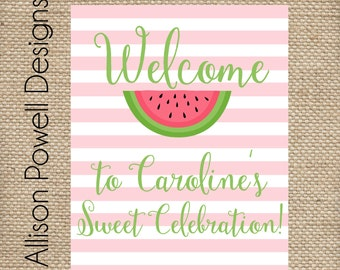 Watermelon Birthday Party, Summer Birthday Party - Print your own - Pink or Red Birthday Party Welcome Sign - 8x10