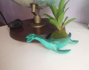 Jaxine, the sparkly green dino planter | comes with realistic plant | succulent planter | air fern planter | office desk brightener