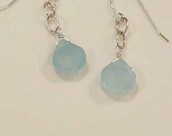 Genuine Aqua Blue Chalcedony and Sterling Earrings