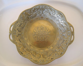 Ornate Handled Tray Bowl Solid Brass Beautiful Patina