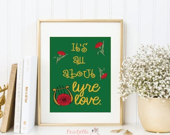 Lyre Love Print; Alpha Chi Omega; AXO; Greek Life; Sorority Sisters;  Olive Green & Scarlet Red;  8x10 Printable; INSTANT DOWNLOAD