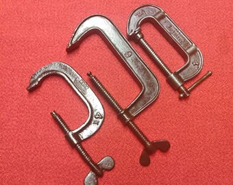 Antique Screw Clamps C-Clamp 3 Adjustable Old Blacksmith Clamps