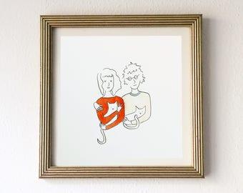 Custom Couple Portrait Line Drawing
