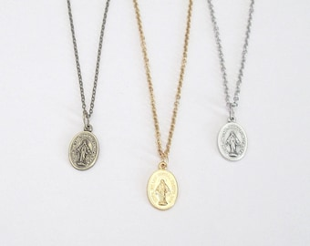 "Small Silver MIRACULOUS Medal Necklace Gold MIRACULOUS medal Pendant w/ 18"" 16"" Stainless Steel Chain ITALY Danity Bronze Miraculous Medal"