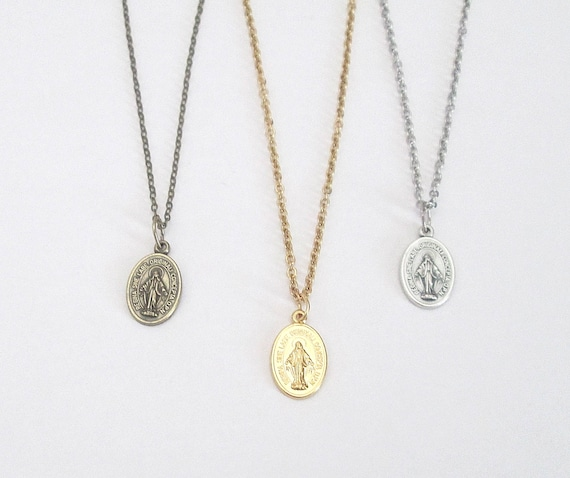 "Small Silver Miraculous Medal Necklace Gold Miraculous Medal Pendant W/ 18"" 16"" Stainless Steel Chain Italy Danity Bronze Miraculous Medal by Etsy"