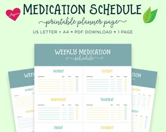 Medication Log, Medicine Tracker, Health Planner, Health Printable, Prescription Tracker, Prescription Log, Health Tracker, Medication Plan