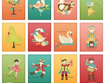 12 Days of Christmas Whimsical Wall Art images -  Set of 12 Printable 8 x 10 Sheets - JPEG ONLY 2004