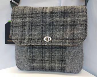 Harris Tweed Shoulder Bag / Messenger Bag / Grey Check / Handmade