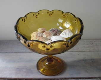 Amber Glass Footed Bowl Centerpiece