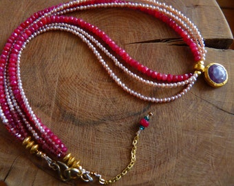 Ruby Necklace, Red, Pearls, Pink