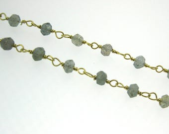 Rosary Chain Wholesale-Sterling Silver Rosary Chain- Labradorite Rosary Chain Bulk Unfinished-Gold Plated Rosary Chain-SKU:101202_LAB