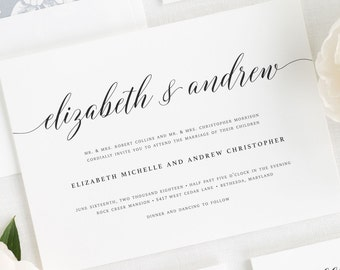 Elegant Romance Wedding Invitations - Sample