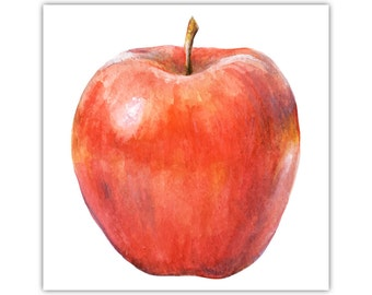 Apple, Watercolour Art, Canvas Print, Red Wall Decor, Large Poster