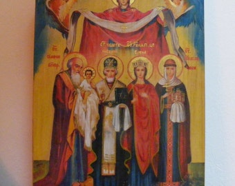 """Personal Family Icon 24х32х2см - custom made in order-  orthodox icons  religious icons of hot colors directly on solid wood ( 9.6""""x12x0.8"""")"""