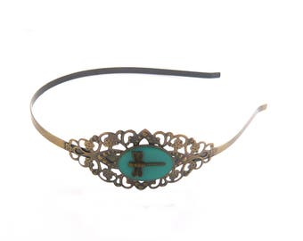Vintage bronze lace steampunk Dragonfly blue headband