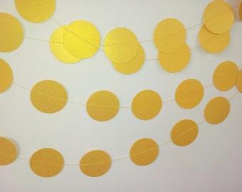 GOLDEN WEDDING Paper Circle Garland - Party, Wedding, Shower, Room Decoration