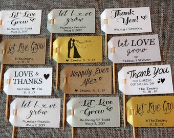 21 CUSTOM Wedding Favor Tags FLAGS for Succulents - Let Love Grow / Thank You Tags Flag - The Succulent Source