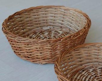 Wicker bread basket, fruit basket, egg basket, farmhouse decoration, handmade in Portugal.