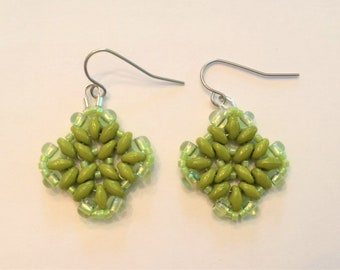 Olive Green Glass Beaded Earrings(Free Shipping)