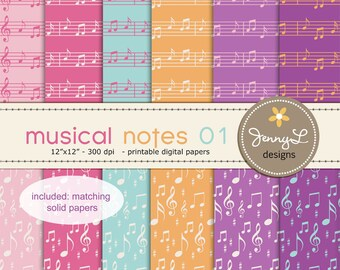 Musical Notes Digital Papers for Digital Scrapbooking, Invites,