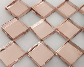 PEACH BLUSH MIRROR Colored Glass Mirror Mosaic Tile Supply M2/M8