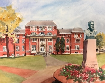 MS State Univ Print Lee Hall Limited Edition 200 hand signed giclee college print of watercolor, Starkeville Mississippi, Bulldogs Maroons