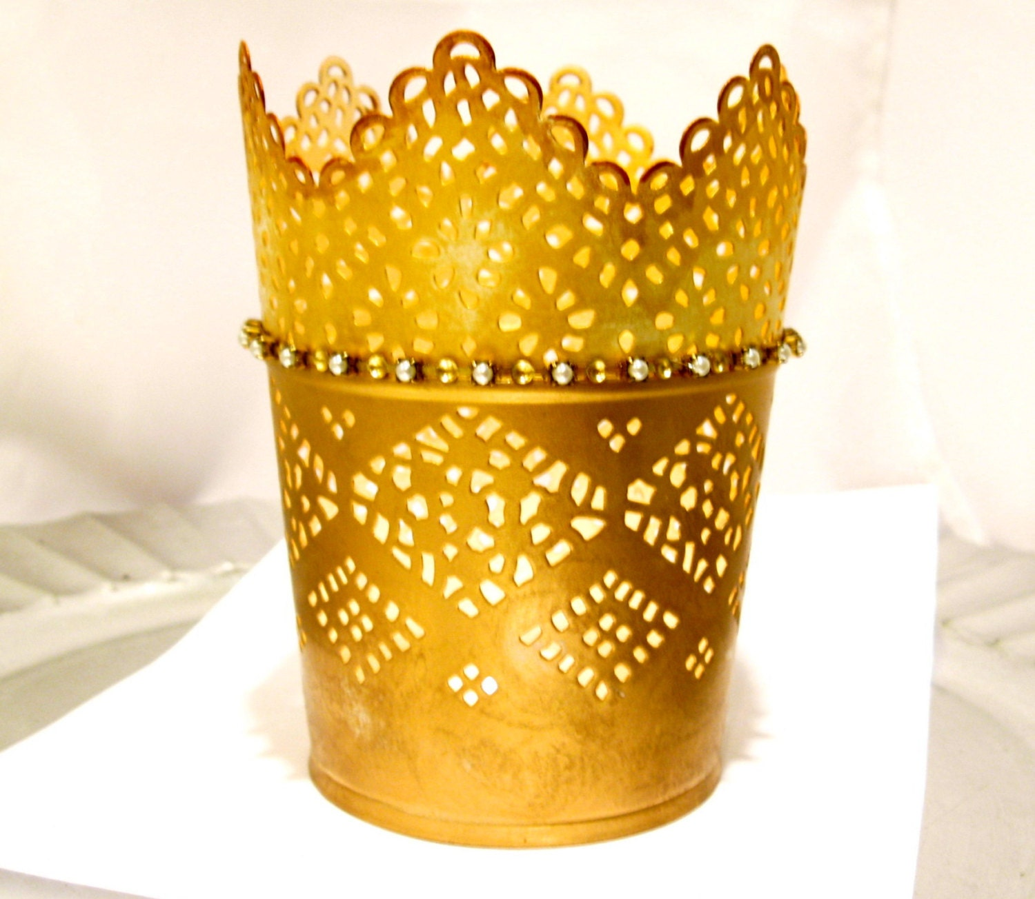 Gold lace candle holder Metal filigree lace candle holder Tea