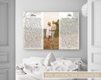 His And Her Vows, His And Hers Vows, His And Hers Canvas, Custom/Personalized Canvas, Vows Print