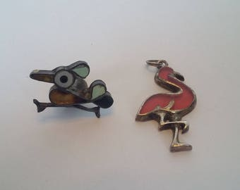 Road Runner and Sterling Silver Flamingo