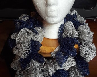 Blue and Silver Ruffle Crochet Infinity Scarf