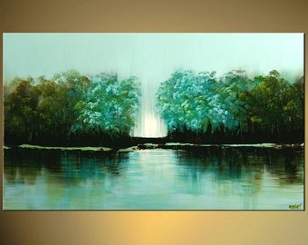 "Modern Turquoise Green Landscape Trees Painting Abstract Acrylic Art by Osnat - MADE-TO-ORDER - 48""x30"""