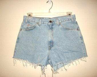Vintage 1990s Levi Strauss High Waist Denim Shorts, Size Extra Large