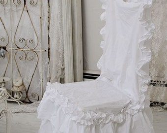 Shabby RUFFLED Chair Slipcover