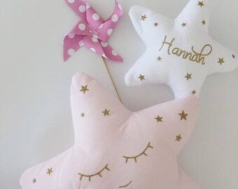 Personalized kids room decoration - 2 pillows plush star - Rose and gold sparkly - Sweet cushion for baby