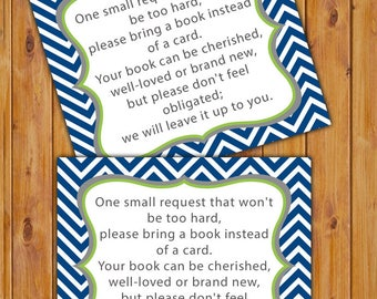 Book Instead of Card Book Request In Lieu of Card Book Invitation Inserts Navy Blue Lime Green Chevron Printable PDF--Instant Download